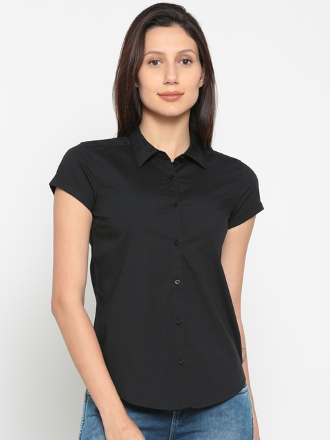 Wrangler Women Black Regular Fit Solid Casual Shirt