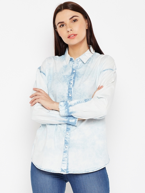 Wrangler Women Blue Regular Fit Faded Casual Shirt