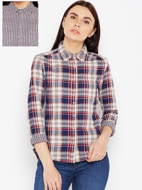 Wrangler Women Navy Blue & Burgundy Regular Fit Checked Reversible Casual Shirt