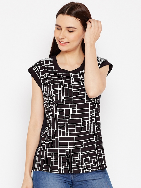 Wrangler Women Black & White Printed Top