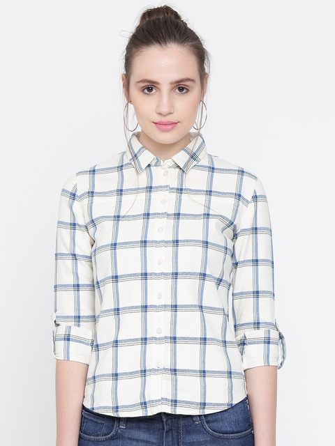 Wrangler Women Off-White & Blue Regular Fit Checked Casual Shirt