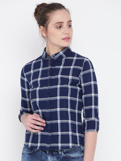 Wrangler Women Navy Blue & Off-White Regular Fit Checked Casual Shirt