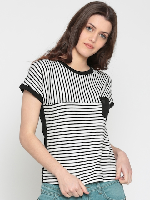 Wrangler Women Black & White Striped Round Neck T-shirt