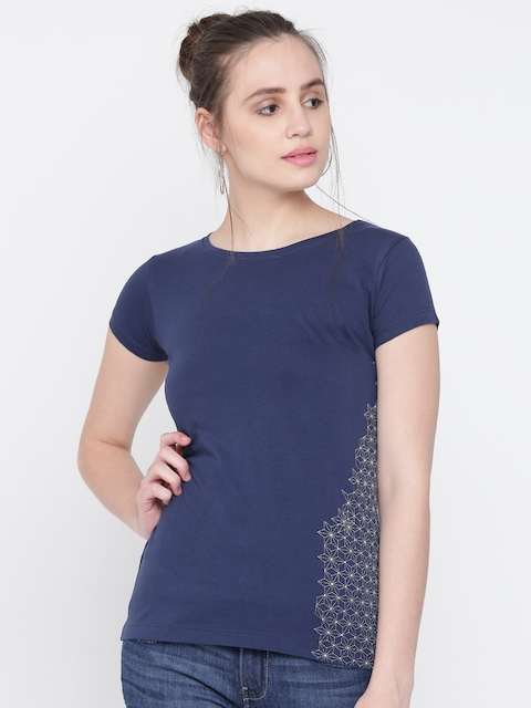 Wrangler Women Navy Solid Round Neck T-shirt