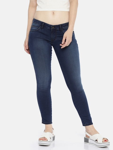 Wrangler Women Blue Skinny Fit Low-Rise Clean Look Stretchable Jeans