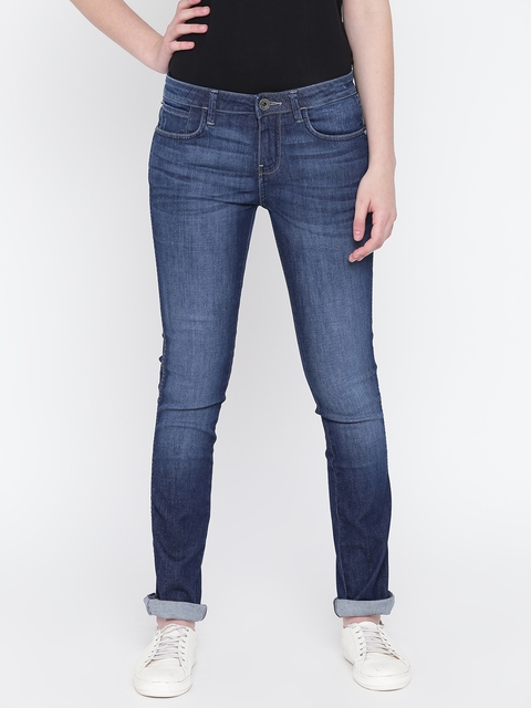 Wrangler Women Navy Blue Slim Fit Mid-Rise Clean Look Stretchable Jeans