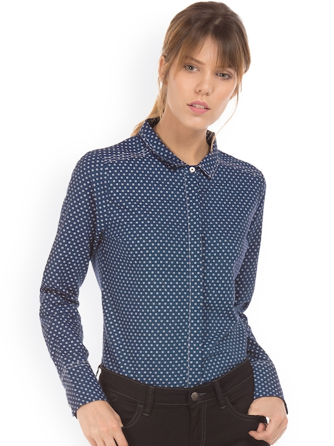 Arrow Woman Women Navy Blue Regular Fit Printed Casual Shirt