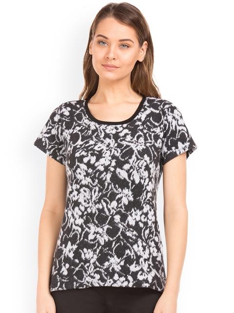 Arrow Woman Women Black Knitted Self Design Top