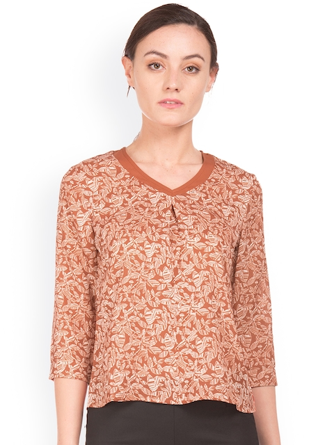 Arrow Woman Women Brown Knitted Printed Top