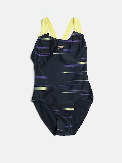 Speedo Girls Navy & Yellow Printed Swimsuit