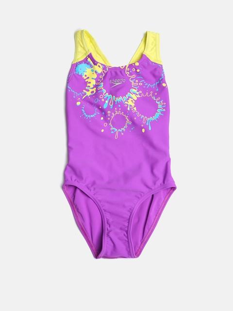 Speedo Girls Purple & Yellow Printed Swimsuit
