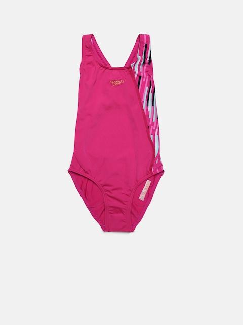 Speedo Girls Pink Printed Swim Suit