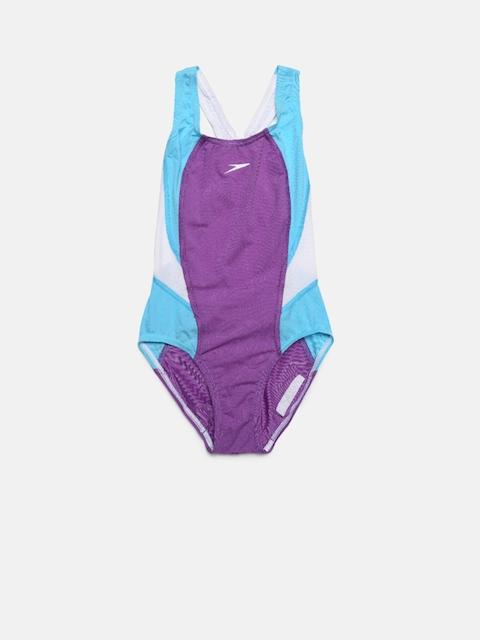 Speedo Girls Purple & Blue Colourblocked Swim Suit