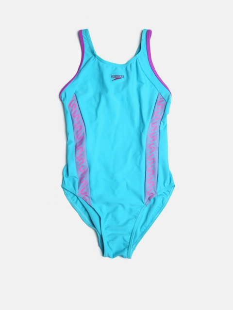 Speedo Girls Blue Printed Detail Bodysuit 8087478713