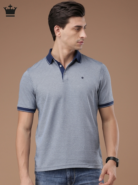 Louis Philippe Men Blue Self Design Polo Collar T-shirt
