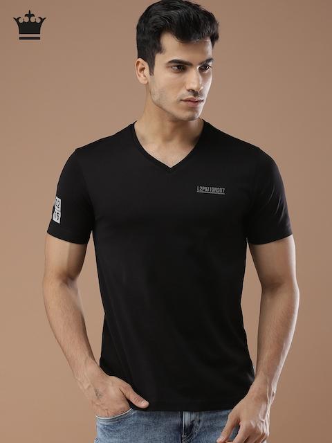 Louis Philippe Jeans Men Black Solid V-Neck T-shirt