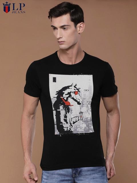 Louis Philippe Jeans Men Black Printed Slim Fit Round Neck T-shirt
