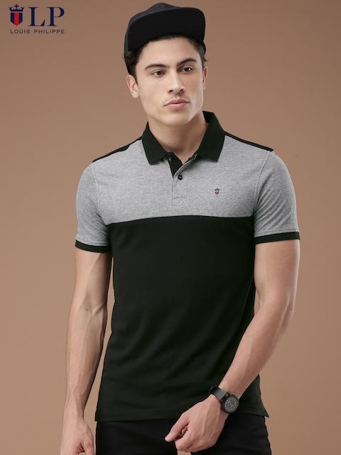 STEV0497, Louis Philippe Sport Men Black & Grey Colourblocked Polo Collar T-shirt