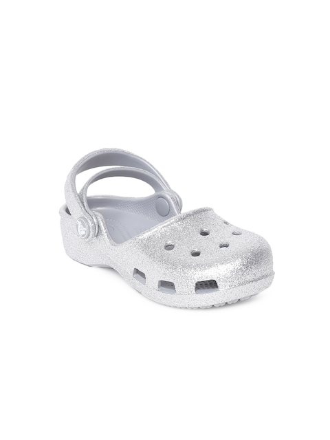 Crocs Girls Silver-Toned Solid Clogs