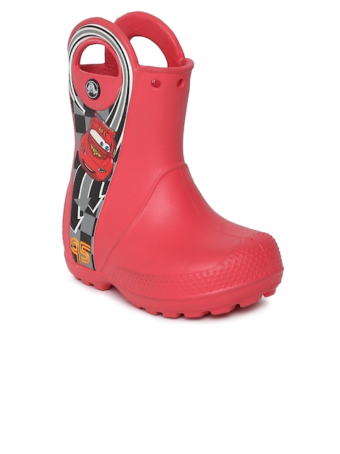 Crocs Boys Red Printed Synthetic High-Top Flat Boots