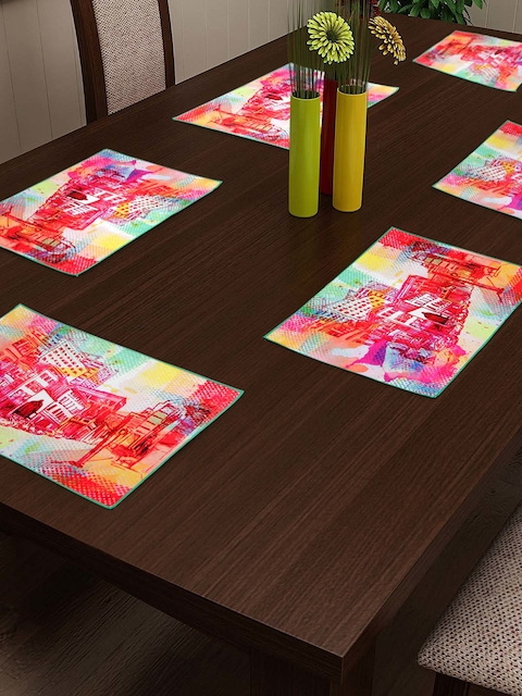 HOUZZCODE Multicoloured Printed Table Mat