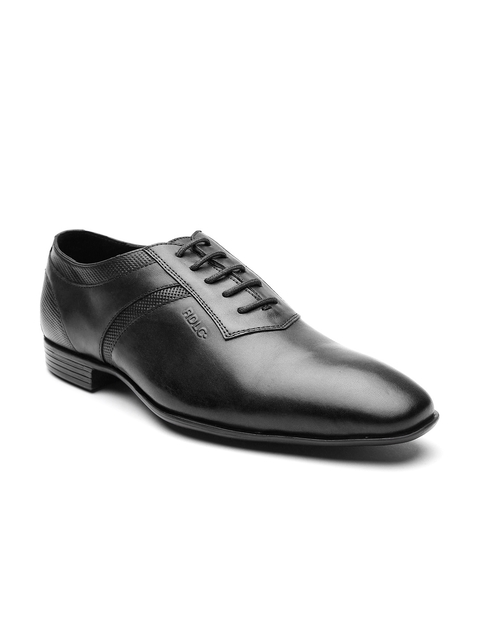 Lee Cooper Men Black Leather Formal Oxfords