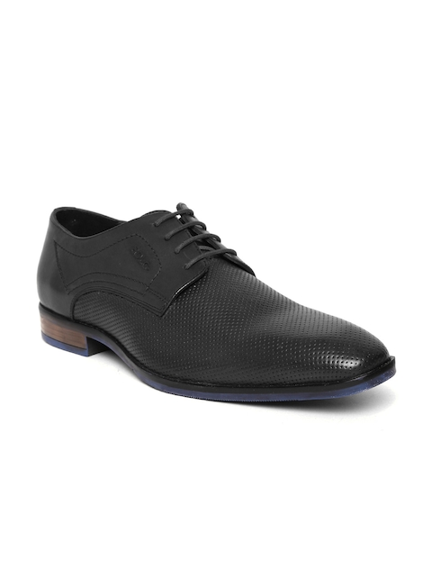 Lee Cooper Men Black Leather Textured Formal Derbys