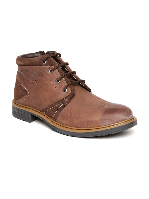 Lee Cooper Men Brown Solid Leather Mid-Top Flat Boots