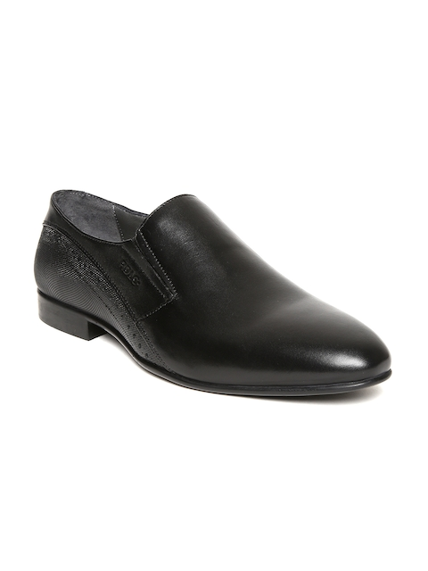 Lee Cooper Men Black Genuine Leather Semiformal Slip-Ons