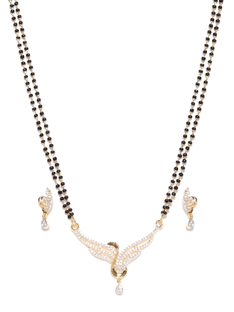 Alamod Black Gold-Plated Beaded Cubic Zirconia Mangalsutra with Earrings Set