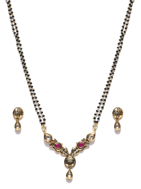 Alamod Black Gold-Plated Beaded CZ-Studded Mangalsutra with Earrings Set