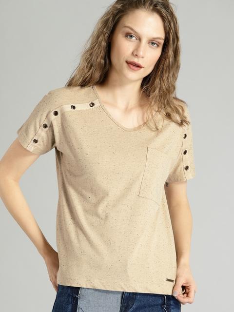 Roadster Women Beige Solid Round Neck T-shirt