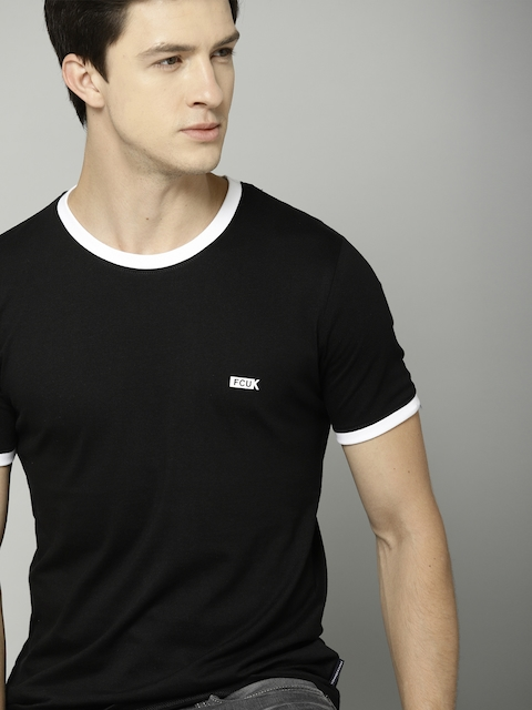 French Connection Men Black Solid Slim Fit T-shirt