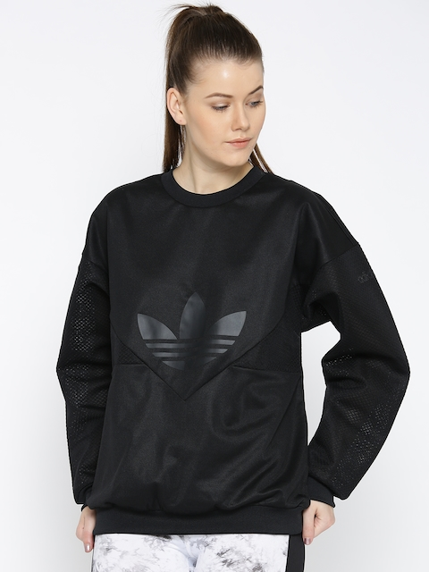 Adidas Originals Women Black CLRDO Solid Sweatshirt