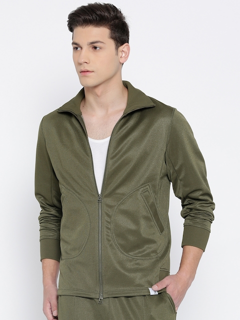 Adidas Originals Men Olive Green XBYO Solid Track Jacket