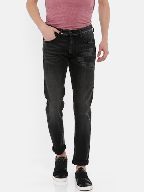 Pepe Jeans Men Black Slim Fit Low-Rise Mildly Distressed Stretchable Jeans
