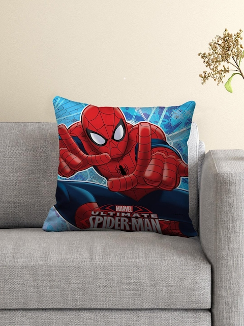 Athom Trendz Blue and Red Printed Cushion with Cushion Cover