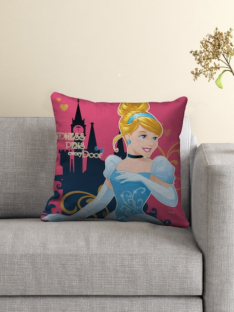 Athom Trendz Pink Printed Cushion with Cushion Cover