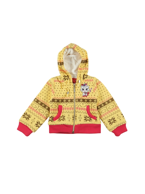 Lilliput Girls Hooded Yellow Printed Open Front Jacket