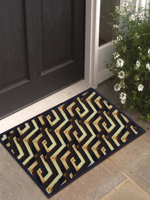 Athom Trendz Pack of 3 Brown Printed Polyester Doormats