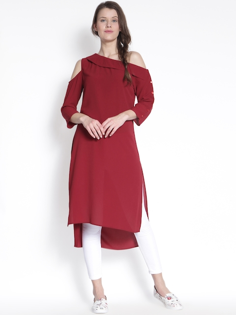 RARE ROOTS Maroon Solid Tunic