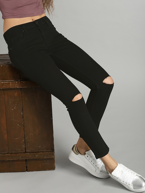 Roadster Women Black Skinny Fit Mid-Rise Slash Knee Recycled Stretchable Jeans