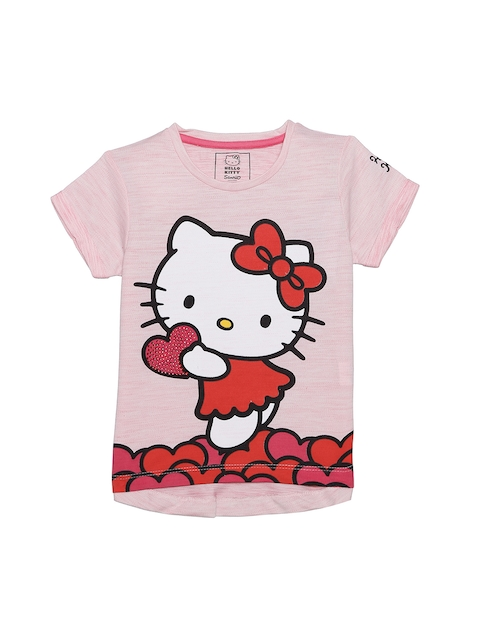 Hello Kitty Girls Pink & Red Printed Round Neck T-shirt