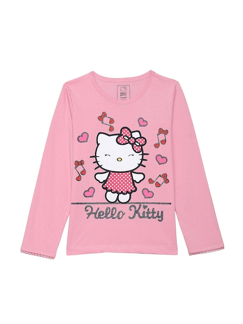 Hello Kitty Girls Pink Printed Round Neck T-shirt