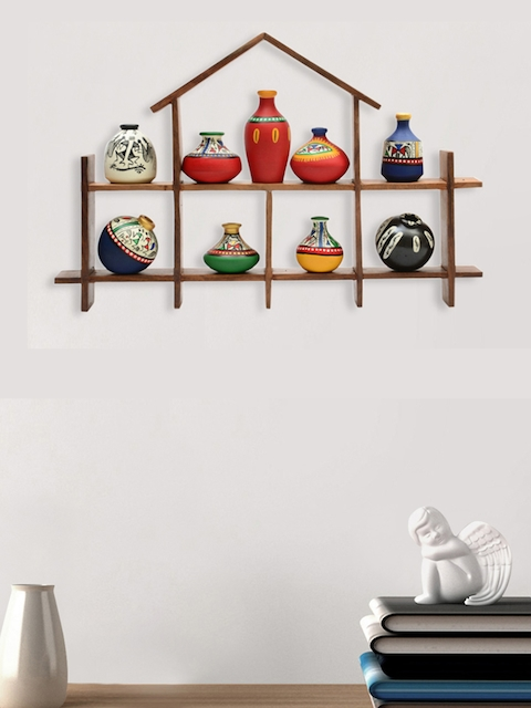 ExclusiveLane Set Of 9 Multicoloured Warli Hand-Painted Pot Showpieces With Wooden Frame