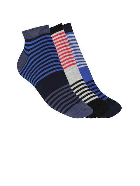 Mast & Harbour Men Pack of 3 Striped Ankle-Length Socks