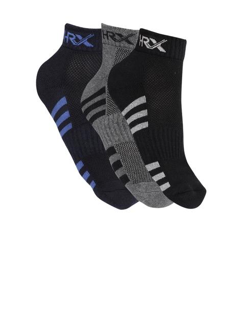 HRX by Hrithik Roshan Men Pack of 3 Striped Ankle-Length Socks