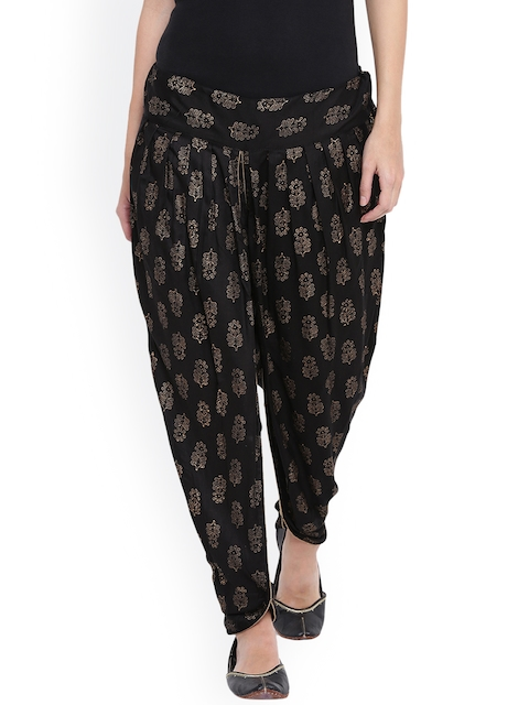 9rasa Women Black Printed Dhoti Pants