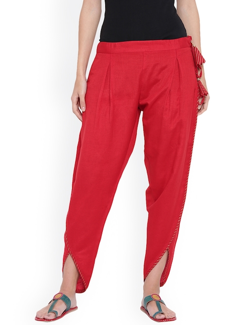 9rasa Women Red Solid Dhoti Pants