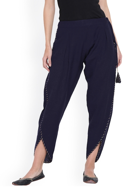 9rasa Women Navy Blue Dhoti Pants